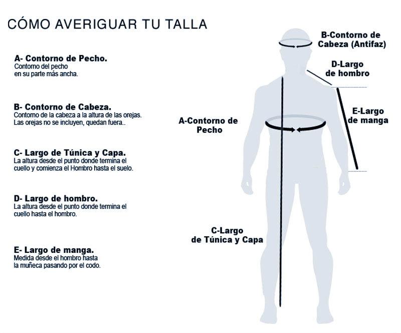 Como averiguar tu talla Tunicas Nazarenas